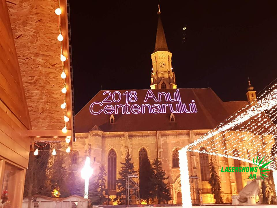 Laser Projection onto the roof of a cathedral.